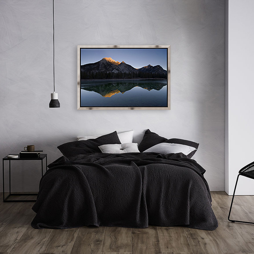 Mirror Image Of A Mountain In Water, Mount Lorette, Kananaskis, Alberta, Canada with Floating Frame