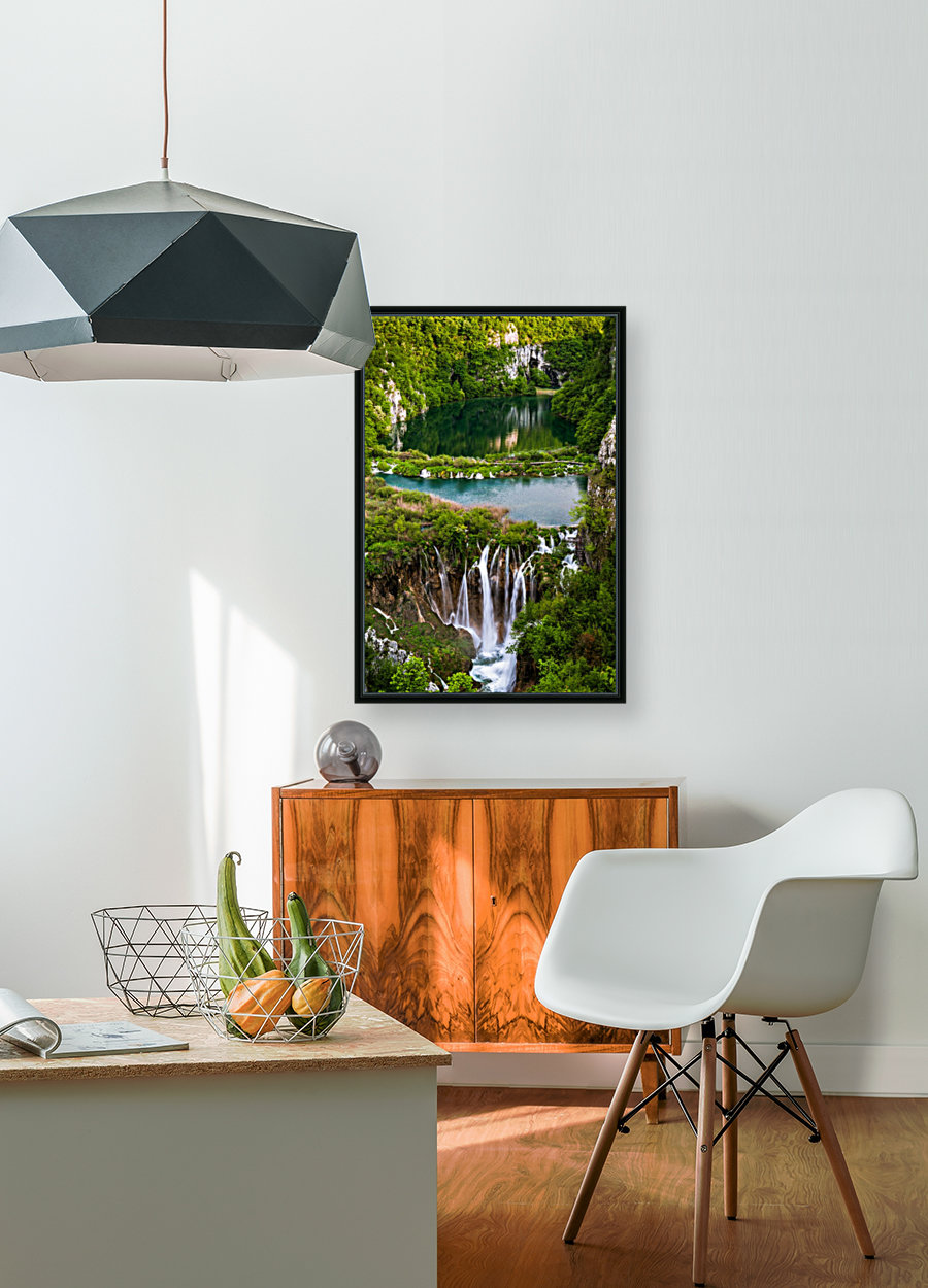 Waterfall Paradise Plitvice Lakes in Croatia with Floating Frame
