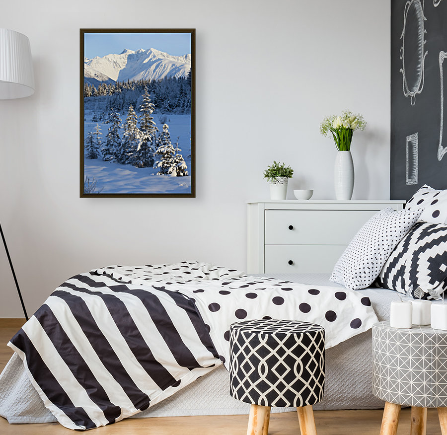 Scenic View Of Chugach Mountains And Snowcovered Landscape, Southcentral Alaska, Winter  Art