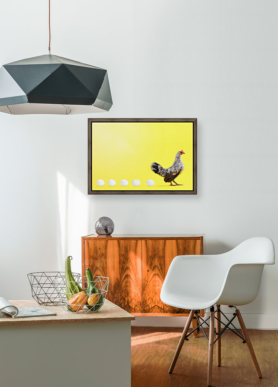 Hen standing in line with five eggs;British columbia canada  Art