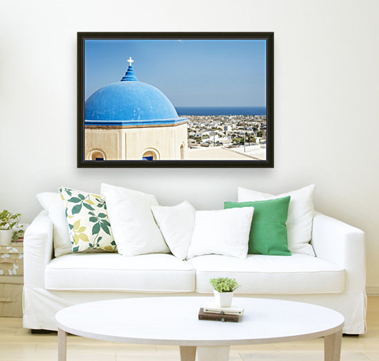 Church with a blue dome roof and view of the Aegean sea; Megalochori, Santorini, Greece  Art