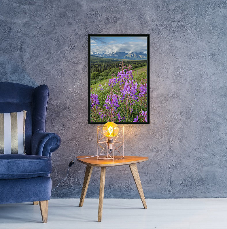 Scenic view of landscape near Palmer, Alaska, with Fireweed (Epilobium angustifolium) in the foreground, Southcentral Alaska, summer  Art