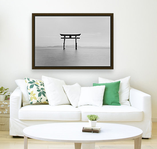 Black and white image of a floating shrine on a lake; Takashiyama, Shiga, Japan  Art