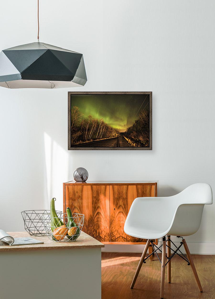 Aurora borealis over road; Thunder Bay, Ontario, Canada  Art