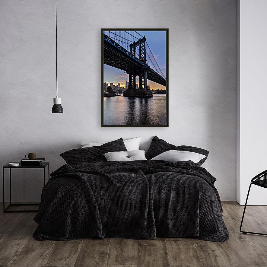 Manhattan Bridge and NYC skyline at sunset, Brooklyn Bridge Park; Brooklyn, New York, United States of America  Art