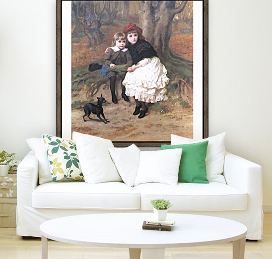 Two children and their dog  Art