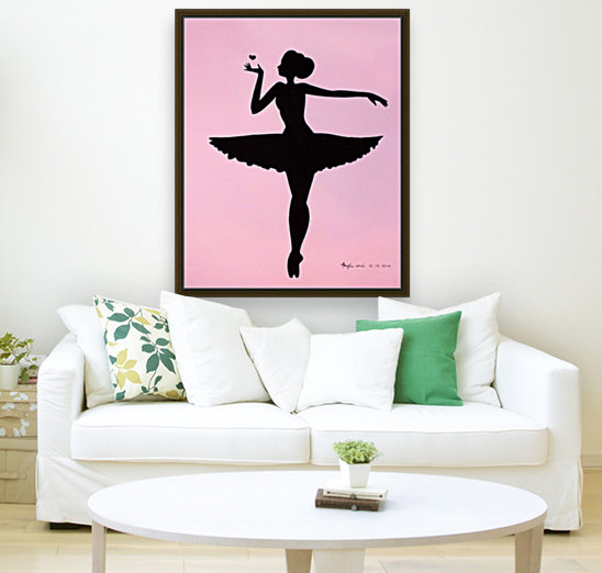 Ballerina Sillhouette (Pink with Floating Frame