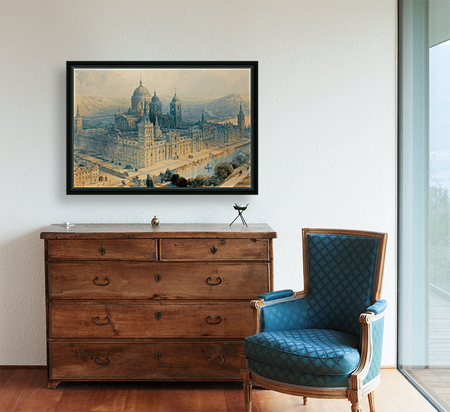 1836 The Palace of Escorial, Near Madrid, Spain with Floating Frame