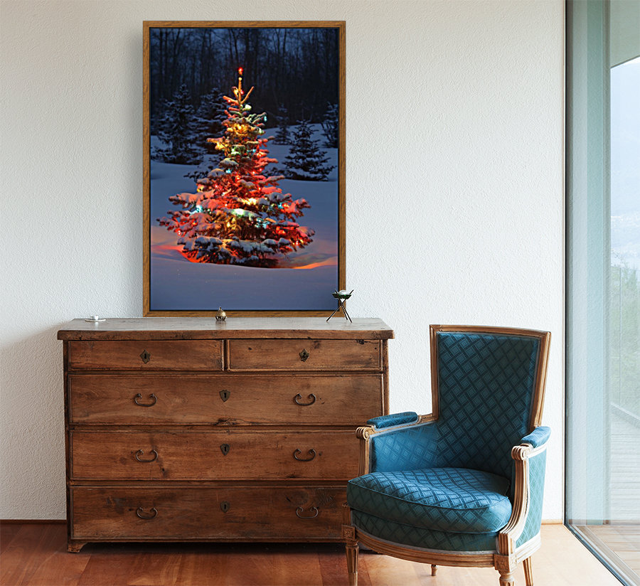 Christmas Tree With Lights Outdoors In The Forest  Art