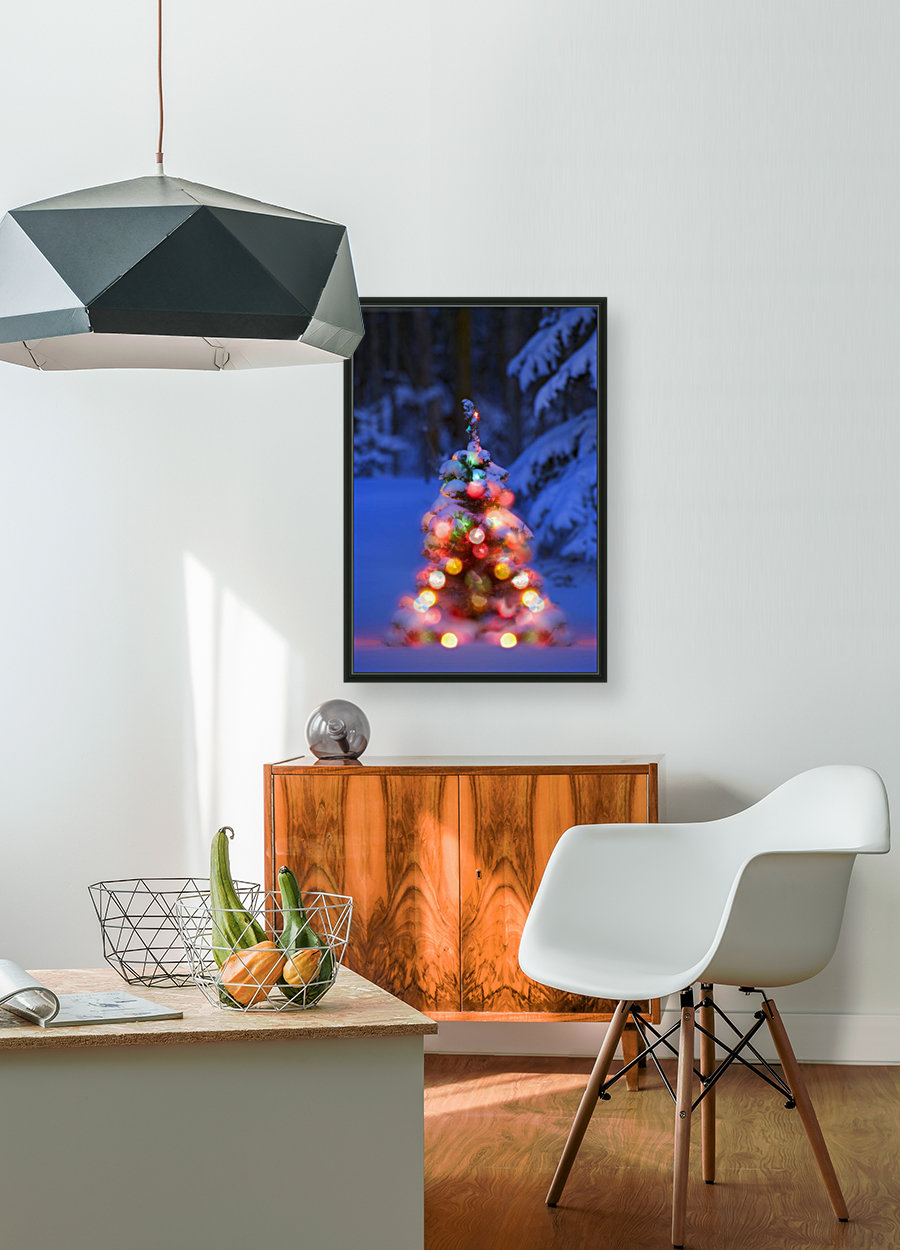 Illuminated Christmas Tree In A Forest with Floating Frame