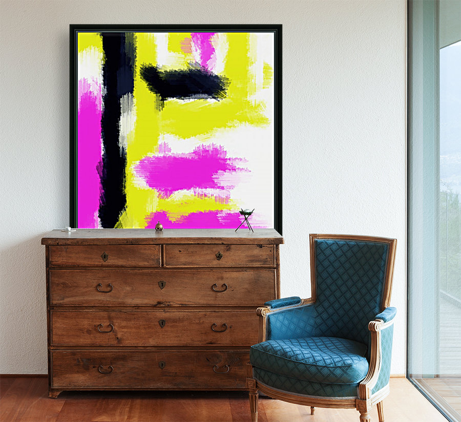 pink yellow and black painting abstract with white background  Art