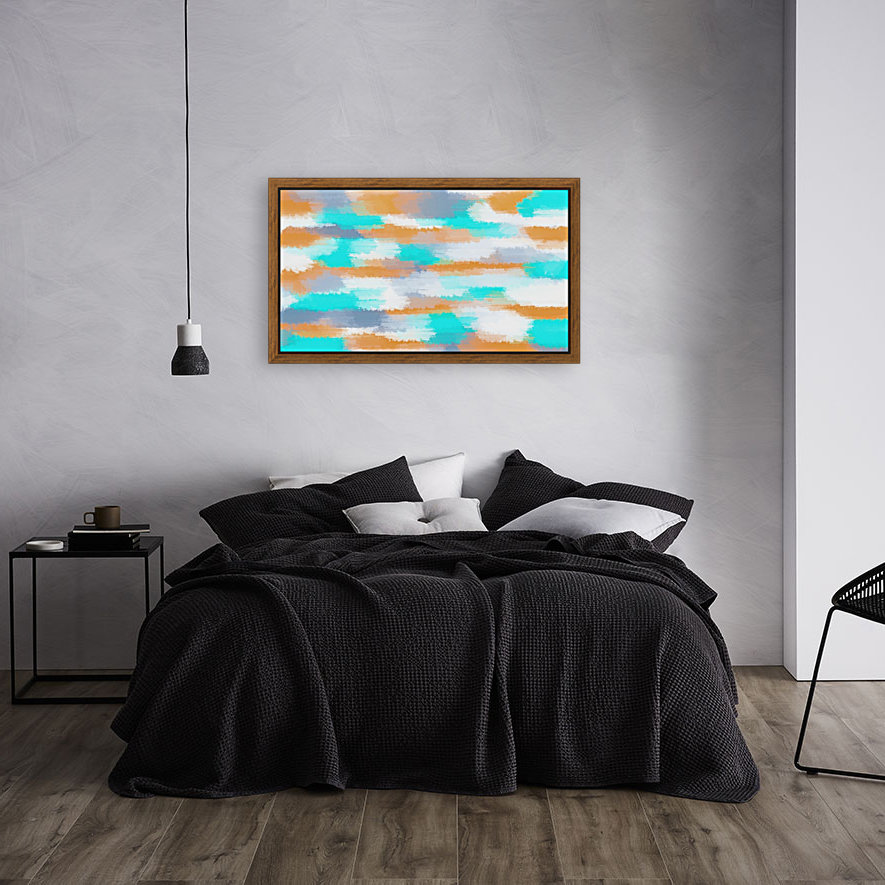 orange and blue painting abstract with white background - TimmyLA Canvas