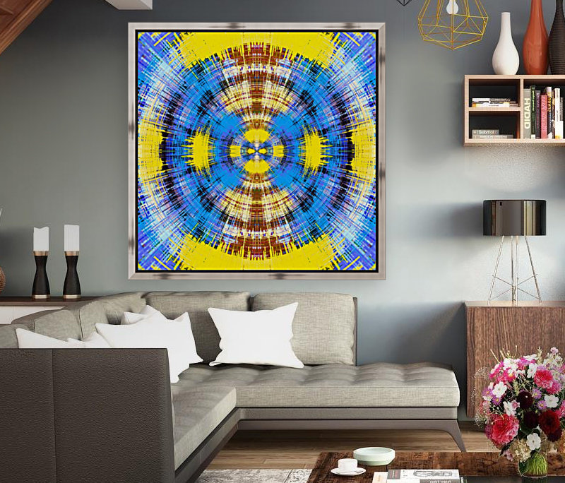 geometric blue yellow and brown circle plaid pattern abstract background  Art