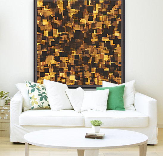 geometric square pattern abstract in brown and black  Art