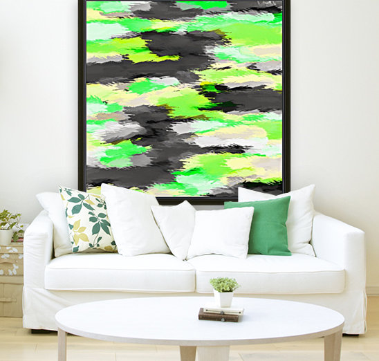 psychedelic camouflage splash painting abstract in green yellow and black  Art