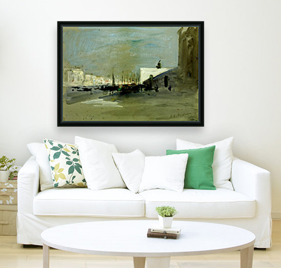 Harbour scene in Venice with Floating Frame