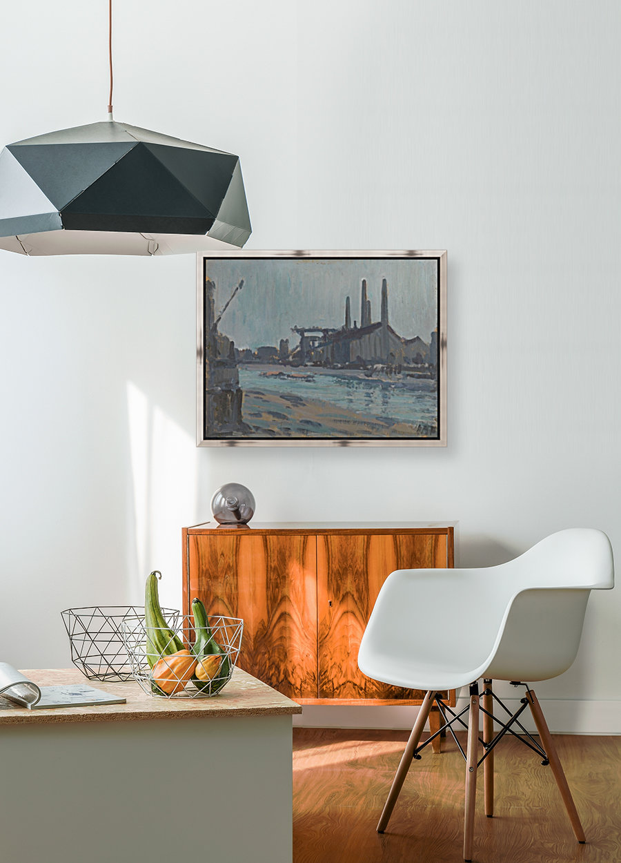 Landscape with industrial buildings by a river  Art