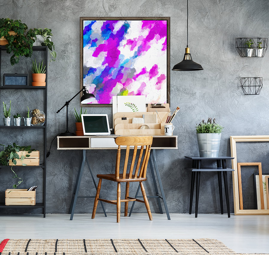 psychedelic painting texture abstract in pink purple blue yellow and white  Art