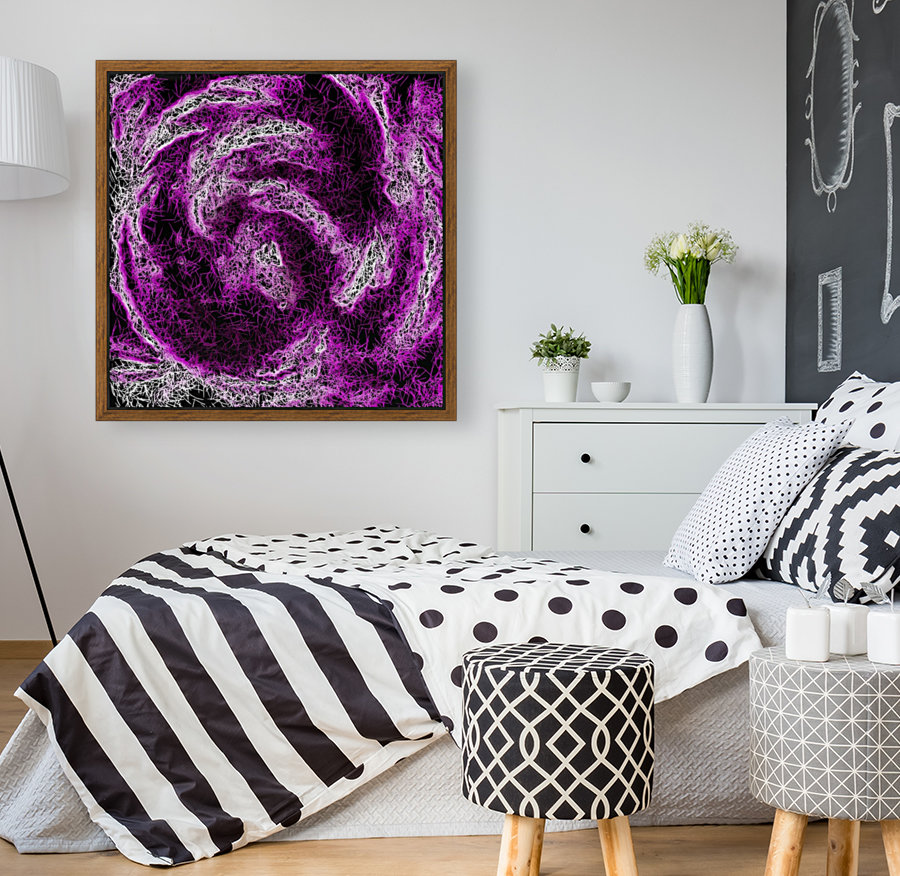 psychedelic geometric painting abstract in pink purple white and black  Art