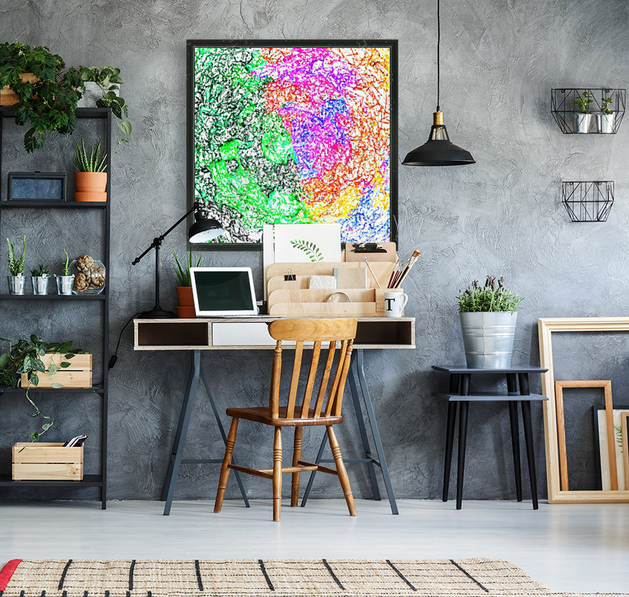 psychedelic splash painting abstract in pink purple green blue orange and yellow  Art