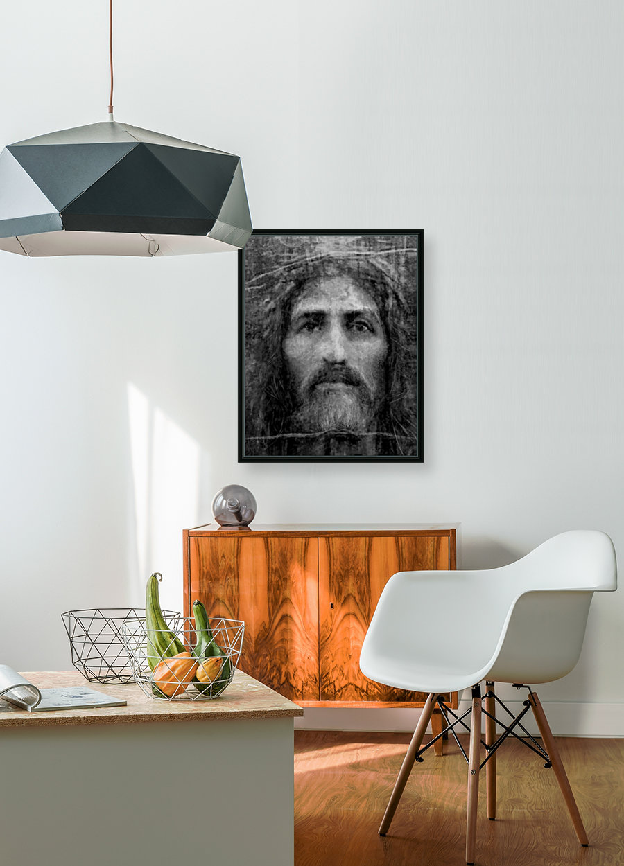 Christ face reconstruction black and white  Art