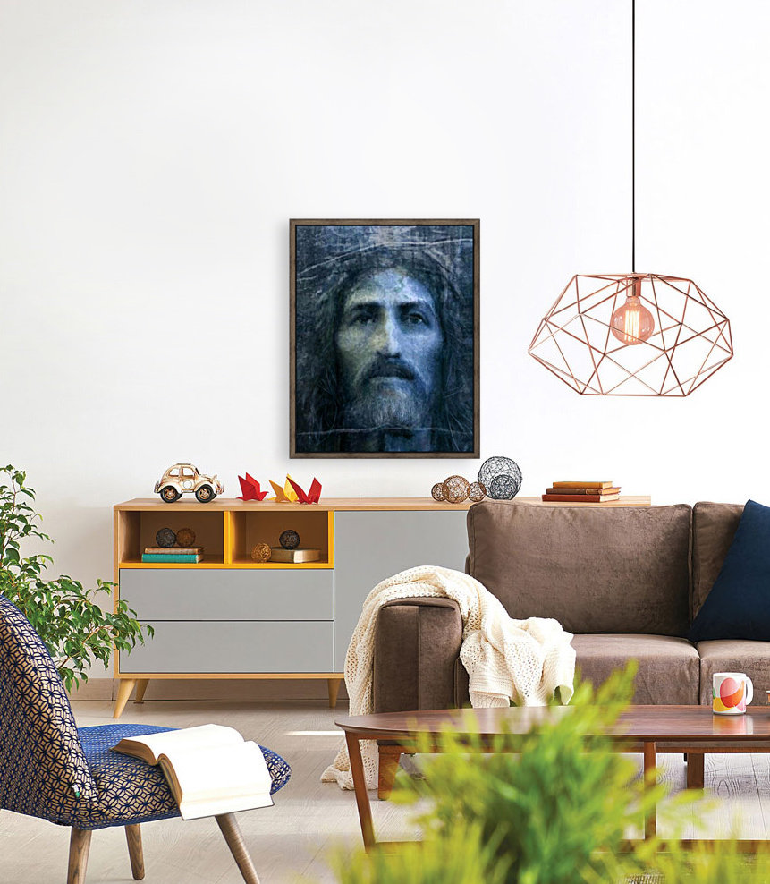 Christ face reconstruction blue with Floating Frame