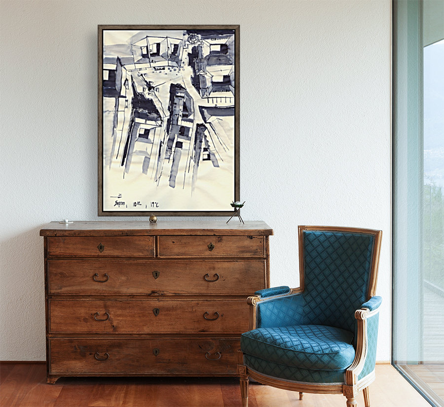Architectural view in birdeye Indian ink with Floating Frame