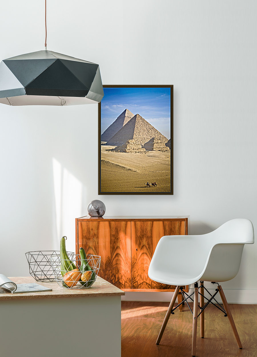 The Pyramids With Two Men On Camels Going By; Cairo,Egypt,Africa  Art