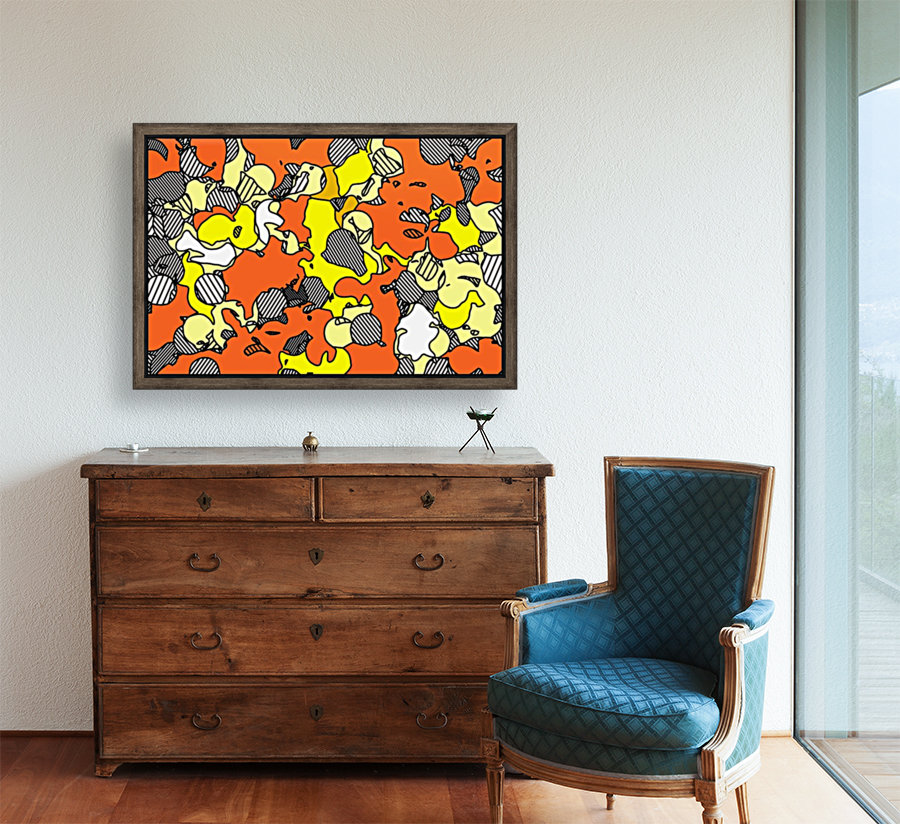 psychedelic drawing and painting abstract in orange and yellow  Art