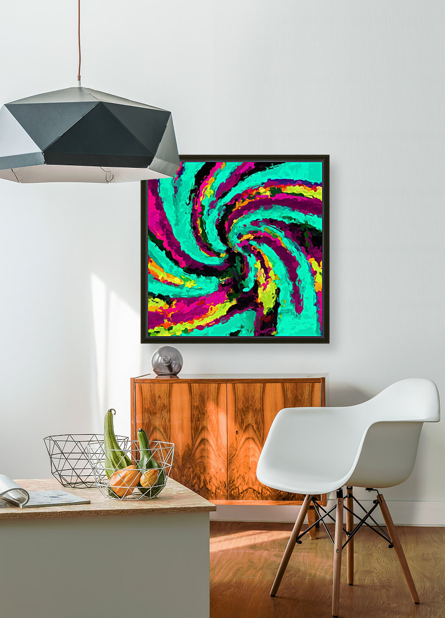 psychedelic graffiti watercolor painting abstract in green blue pink purple and yellow  Art