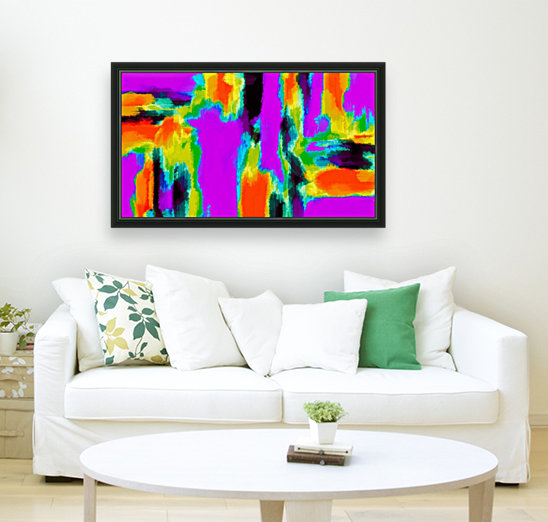 pink purple green orange black yellow and blue painting abstract background  Art