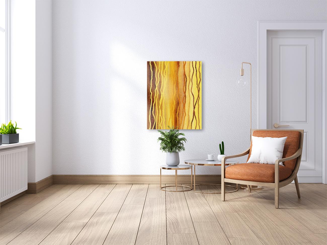 Organic Lines Beige Abstract  Art