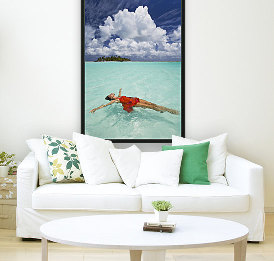 French Polynesia, Woman Floating In Ocean Water.  Art