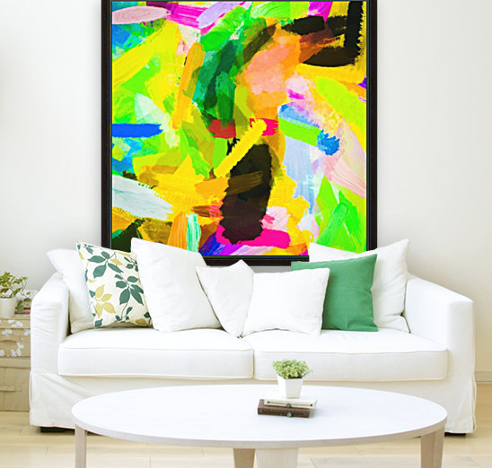 psychedelic splash painting texture abstract in green yellow pink blue  Art