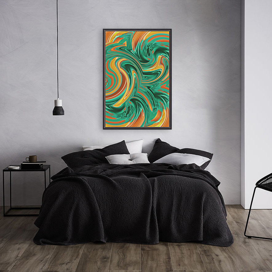 psychedelic graffiti wave pattern painting abstract in green brown yellow  Art
