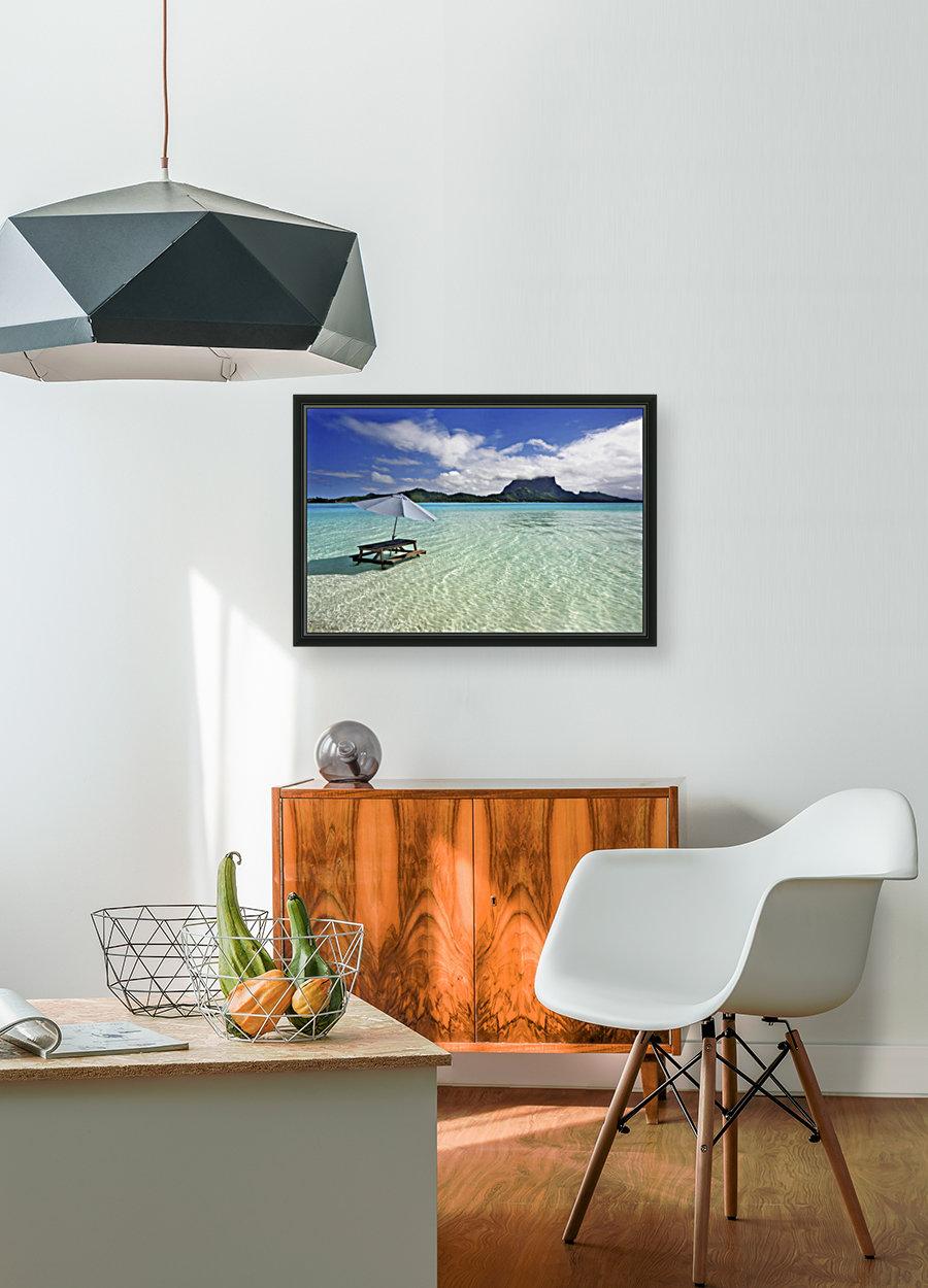 French Polynesia, Tahiti, Bora Bora, Picnic Table And Umbrella In Clear Lagoon Water.  Art