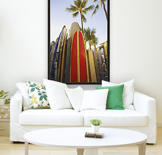 USA, Hawaii, Oahu, Close up view of colorful surfboards in surfboard rack on Waikiki Beach; Waikiki  Art