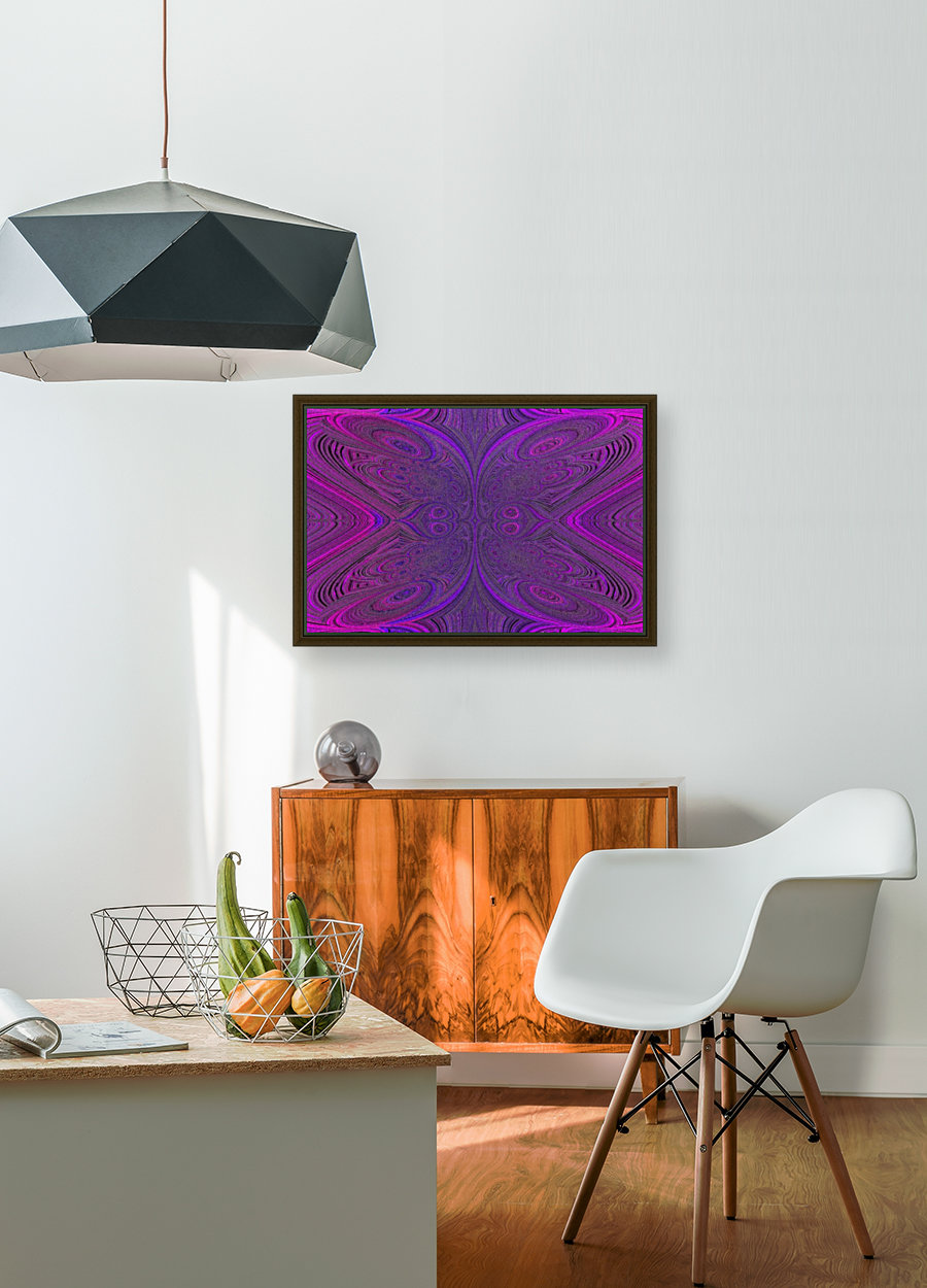 Digital Butterfly Purple Pink  with Floating Frame