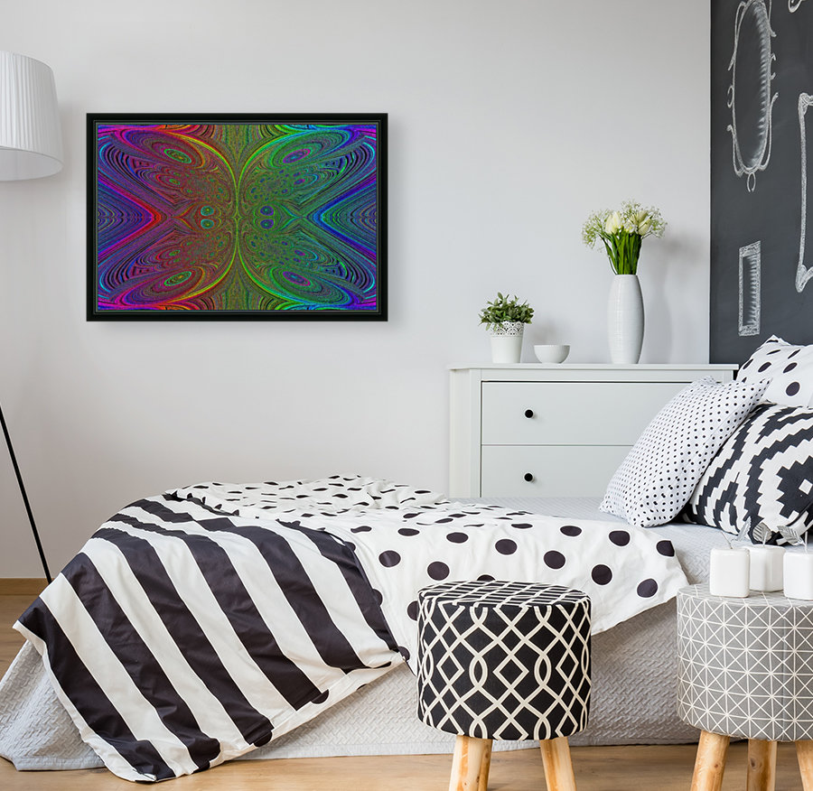 Digital Butterfly Rainbow 1 with Floating Frame