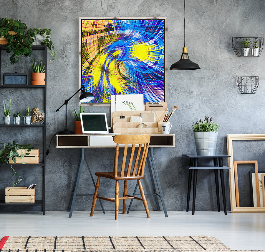 geometric psychedelic splash abstract pattern in blue and yellow  Art