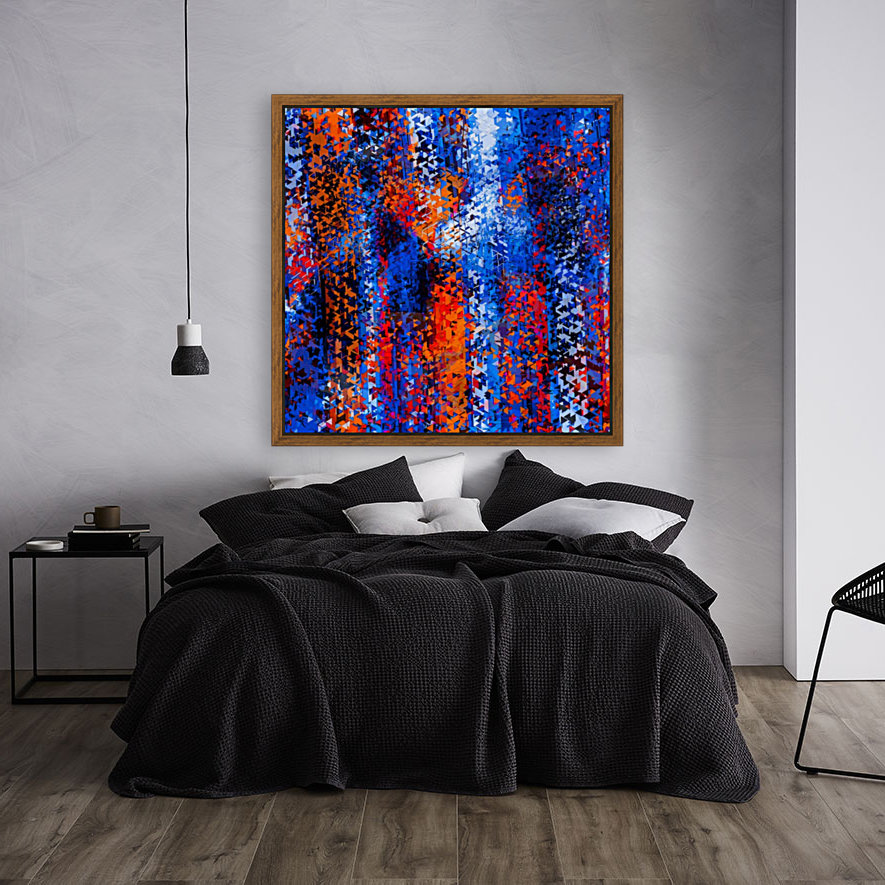 psychedelic geometric polygon shape pattern abstract in blue red orange  Art