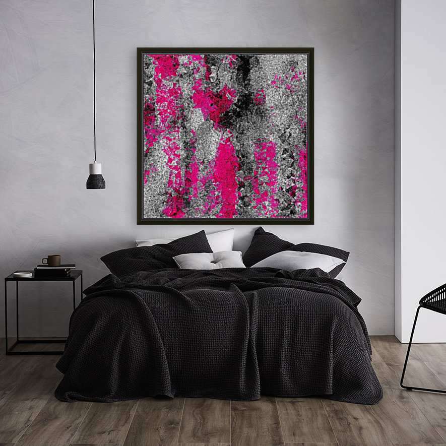 vintage psychedelic painting texture abstract in pink and black with noise and grain with Floating Frame