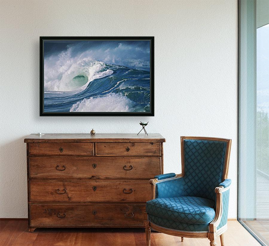 Turbulent Shorebreak Waves With Whitewash.  Art