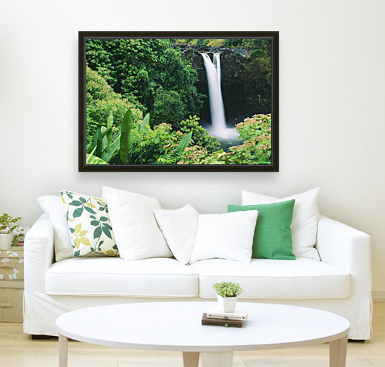 Hawaii, Big Island, Hilo, Wailuku River State Park, Rainbow Falls, Flowers And Greenery In Foreground.  Art