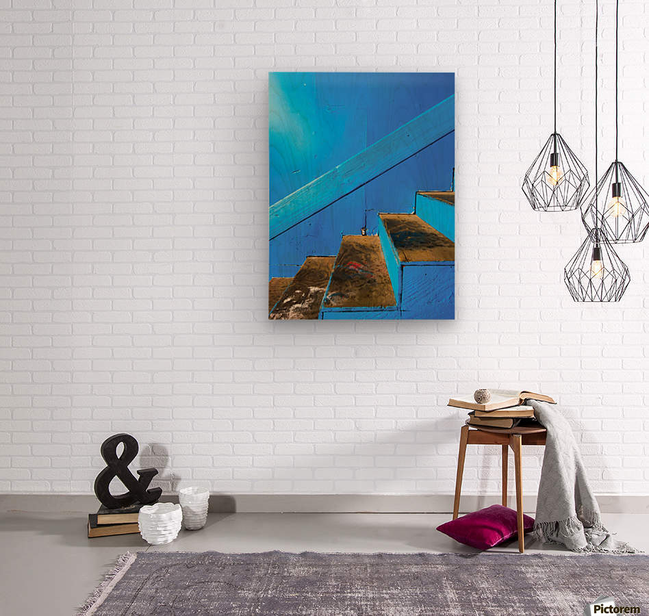 blue and brown old wood stairs with blue wall background  Wood print
