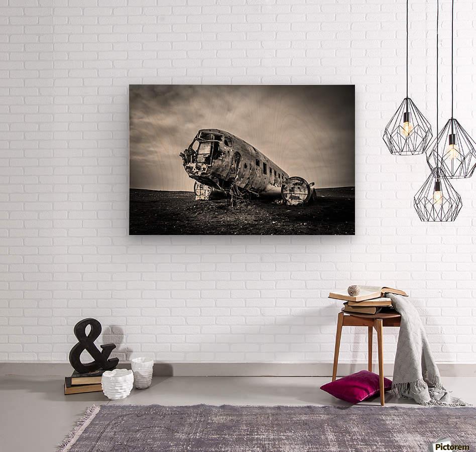 Plane wreck B&W  Wood print