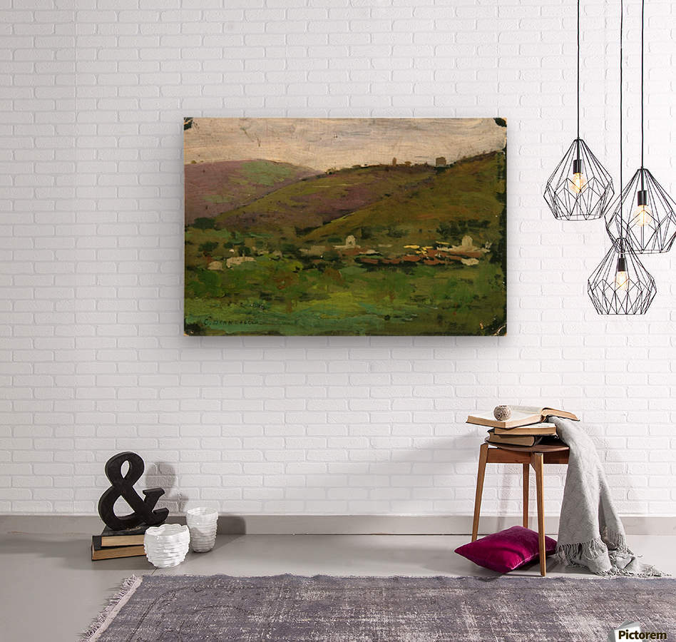 Landscape with houses on an Italian hill  Impression sur bois