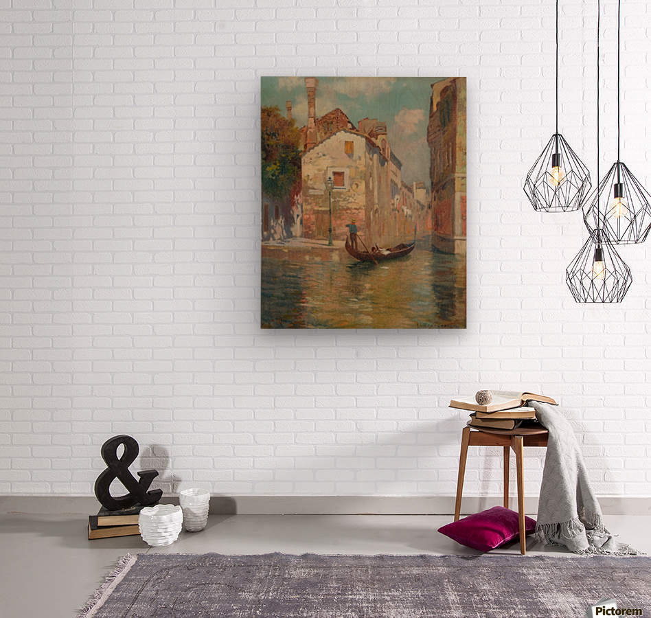 Gondola traveling along a canal in Venice  Impression sur bois