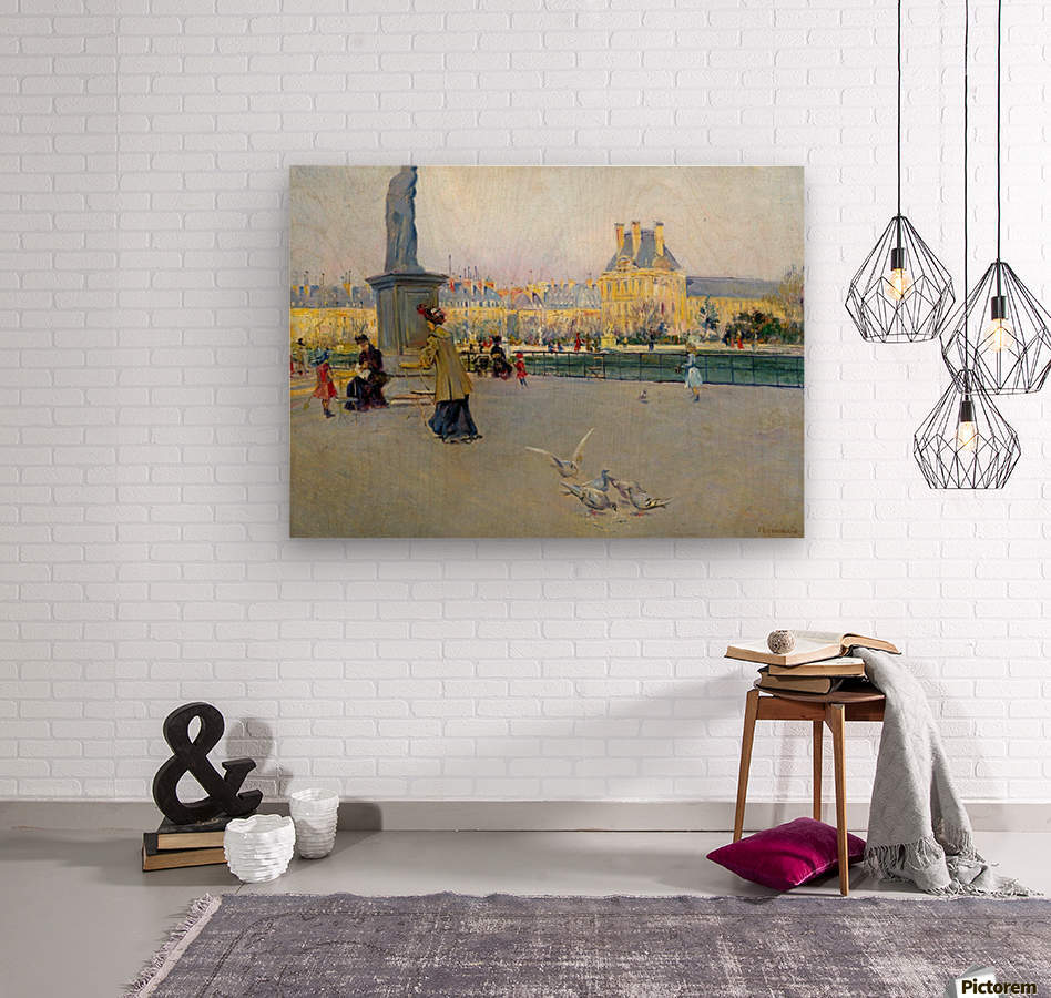 City view with figures and birds in Paris  Impression sur bois