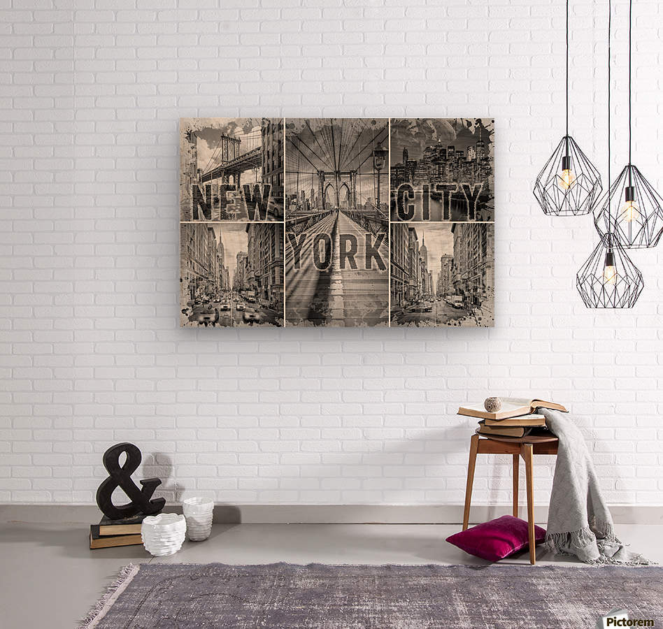 NEW YORK CITY Urban Collage No. 3  Wood print